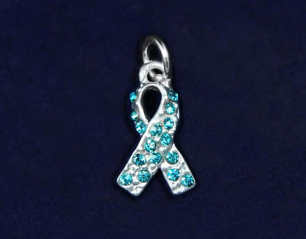 1 cm and is encrusted with teal crystals. (CHARM-56-3) Qty: 50/pkg.