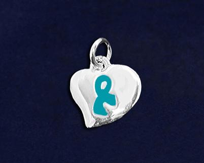 The sterling silver plated charm is a circular shape with three teal ribbons around
