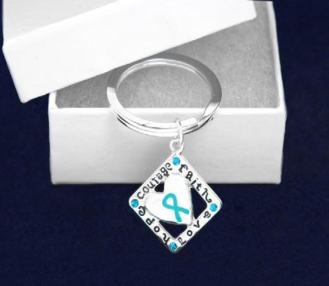 Teal Ribbon Keychains, Rings and Beads Silver Envelope Keychain.