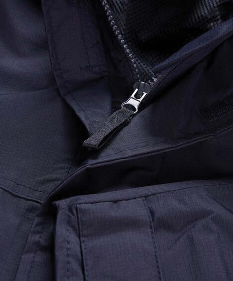 fabric Velcro storm flap Concealed hood in collar Longer length