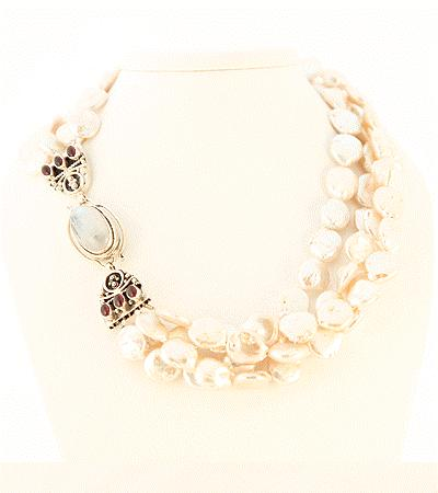 "with Indian Mughal Beads Faceted 3 Graduated Strand and Sterling Silver Gold Vermeil Designer Clasp, 20"" Long Retail"
