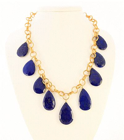 Lapis Drops on Sterling Silver Vermeil Chain and Lobster Claw
