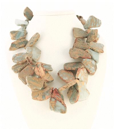 Terra Jasper Slices Beautiful Flakes of Earthy Blue and Brown Tones Strung on Wire