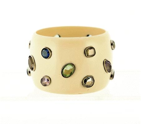 Cream Bakeolite Cuff Bracelet with 18 Colored inside Dia 2.