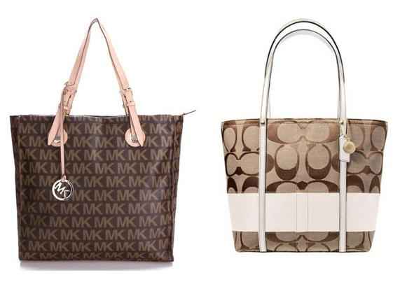 5 similar designs, have the same appeal and use similar types of leather to manufacture bags. A classic Michael Kors bag next to a classic Coach bag.