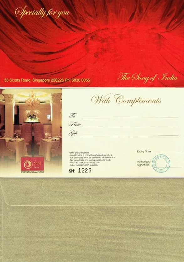 Unsure of which gift to choose for your guest? You could select our elegant gift vouchers to give your esteemed guest.