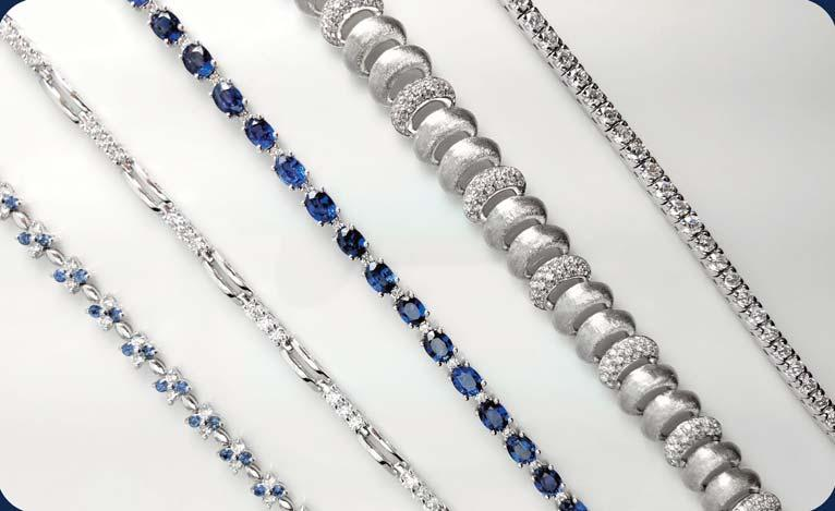 A] 14kt white gold sapphire & diamond floral bracelet set with 50 diamonds totaling 1.5ct & 50 round sapphires totaling 2.0ct $4,395.