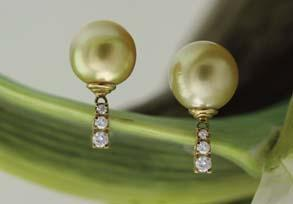 5mm golden south sea pearl and diamond