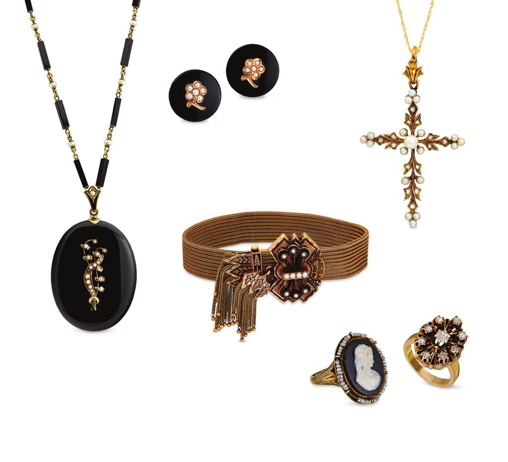 . Onyx and pearl mourning necklace, $4,495. Onyx and pearl earrings, $825. Rose cut diamond and pearl cross, $2,700.