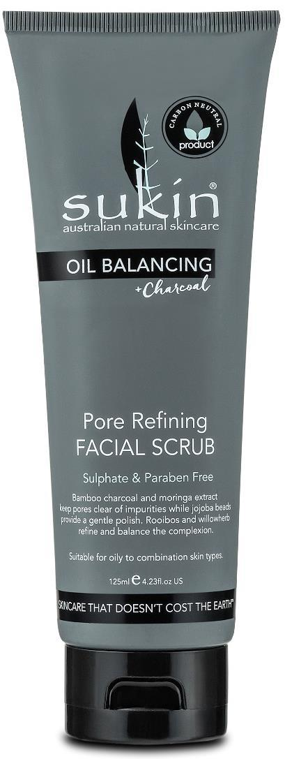 OIL BALANCING PORE REFINING FACIAL SCRUB OIL BALANCING FACE Actives: Suitable for: How to use: Tips: Size/Price: Oil Balancing with Charcoal PORE REFINING FACIAL SCRUB A deeply refining base of