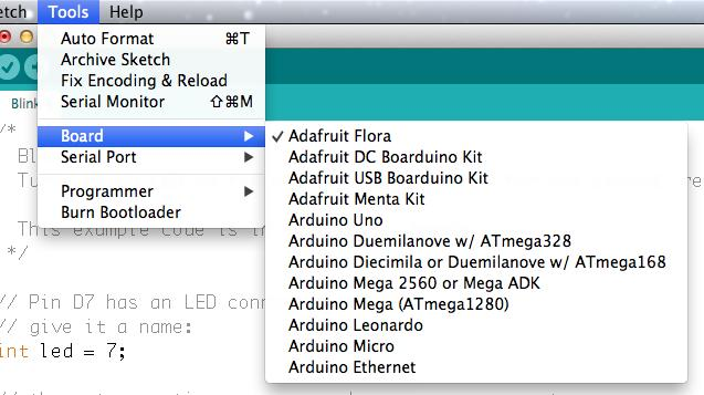 "From the Tools menu, under ""Board,"" choose ""Adafruit Flora"" Also in the Tools menu, under ""Serial Port,"" choose the one that contains"