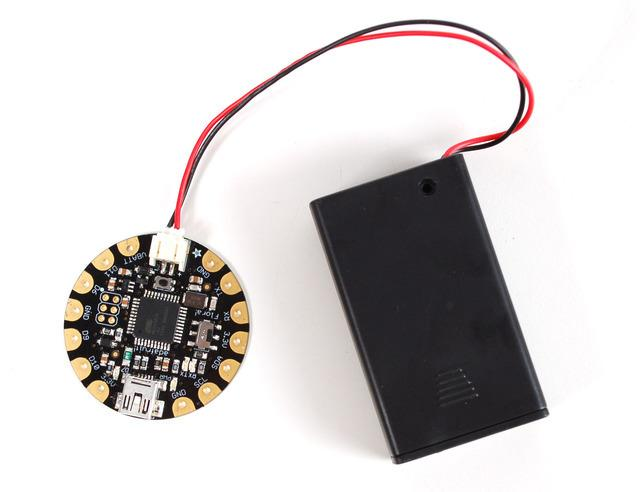Power your FLORA The Flora runs at 3.3V with an onboard regulator to keep the voltage steady. You'll need to power the board with a 3.6V or greater battery.