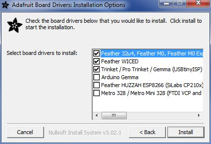 On Windows 7, by default, we install a single driver for most of Adafruit's boards, including the Feather 32u4, the Feather M0, Feather M0, Express, Circuit Playground, Circuit Playground Express,