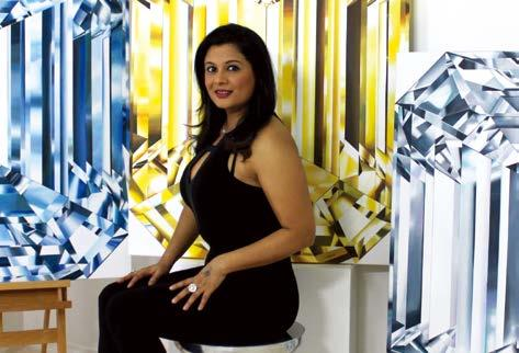 DIAMONDS From left: Reena Ahluwalia painting the Portrait of Perfection; Eternal necklace for Forevermark by Reena Ahluwalia; the designer poses with her Trio of Emerald Cuts paintings JNA: Please