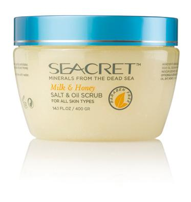 SALT & OIL SCRUB Ocean Mist, Pomegranate, Milk & Honey, Pure FOR ALL SKIN TYPES High concentration of unique minerals from the Dead Sea. Gently exfoliates dry skin stimulating cell renewal.