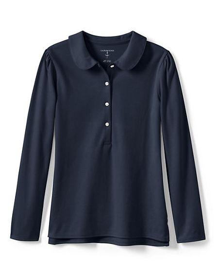 Girls TK 4 Casual Uniform Navy Peter Pan Polo (long or short sleeve, to be worn with skort, shorts or