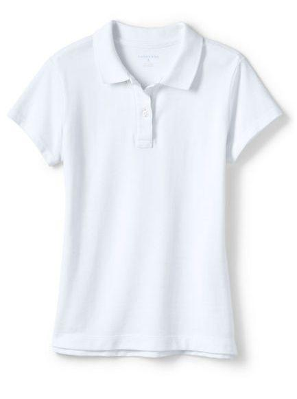 Girls 5 8 Casual Uniform Navy or White Fem Fit Mesh Polo (long or short sleeve), Navy or White Fem