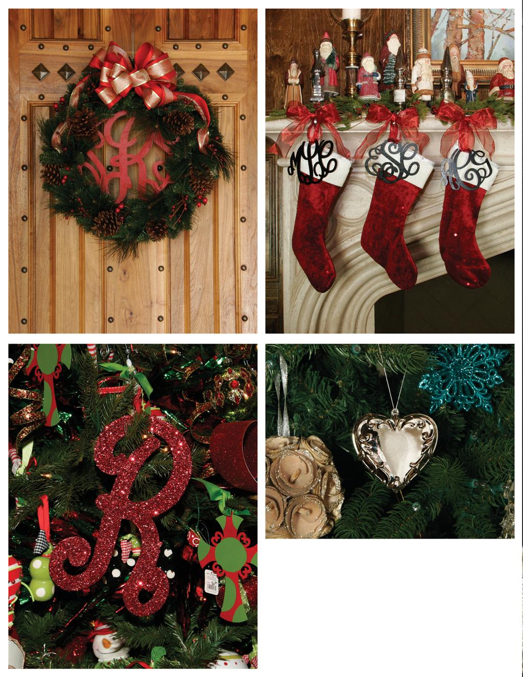 a. a. Shown with 11 monogram Shown with 6 monogram b. GG0087 $20 Ornate Heart Ornament 3.2 at widest point 3 tall Deck the Halls.with Monograms!