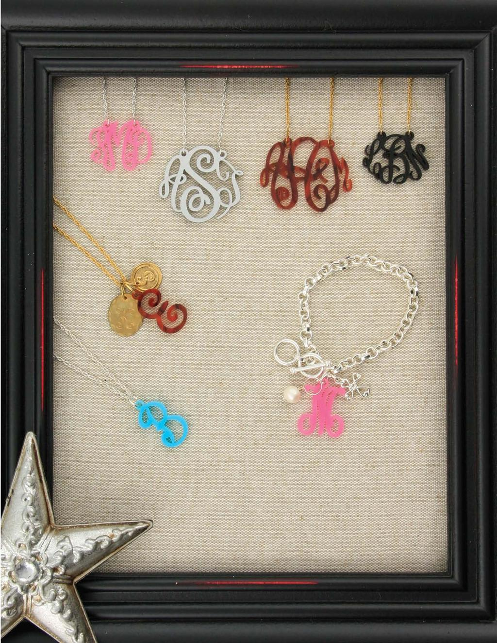 c. d. d. c. e. Acrylic Filigree Monograms Add charms to create a unique initial necklace! JB0216 $24 7 1/2-8 JC0007 $7 JC0054 $12 e. e. Remove the single initial from the chain and place on a bracelet.