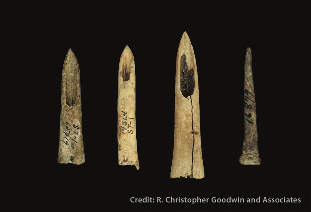 Bone Tools In areas where stone was scarce, bone often was used instead of stone for some tools, such as projectile points used on the ends of spears or darts.