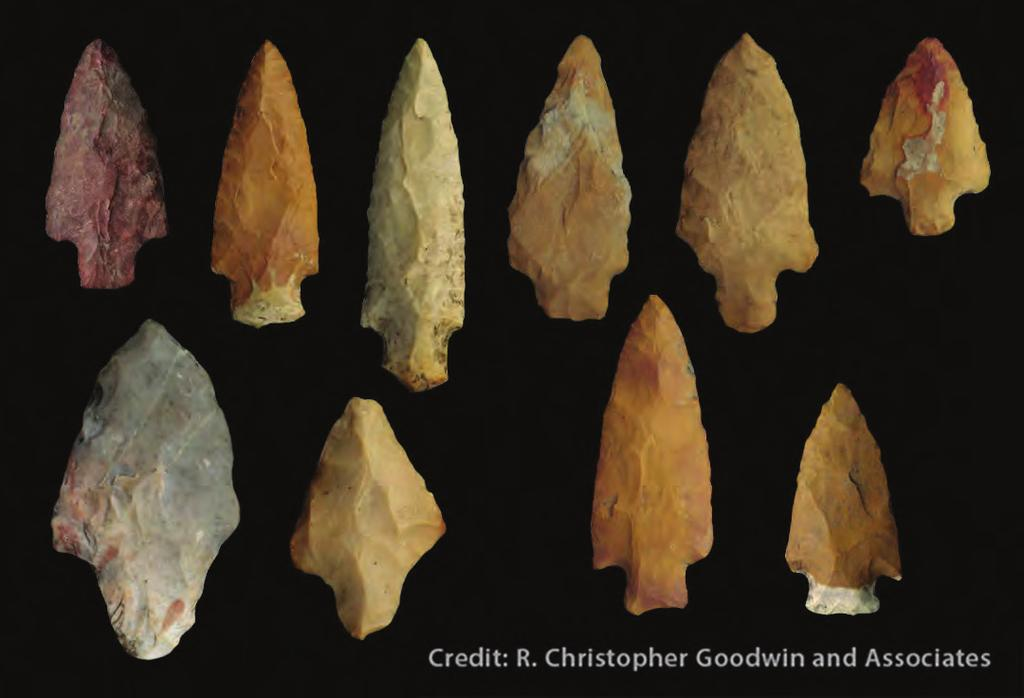 Chipped Stone Tools Projectile points were the sharp tips on the ends of spears, darts or possibly harpoons. Some of the stone used for projectile points came from other states.