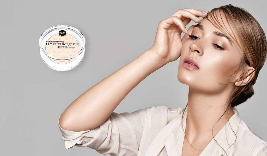 FACE & BODY ILLUMINATING POWDER Face and Body Illuminator Dedicated to women who want to give their skin fresh and well rested appearance.