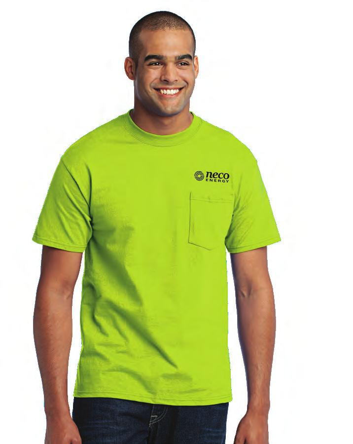 These UniFirst T-shirts have double needle hems and a cover seamed neck.