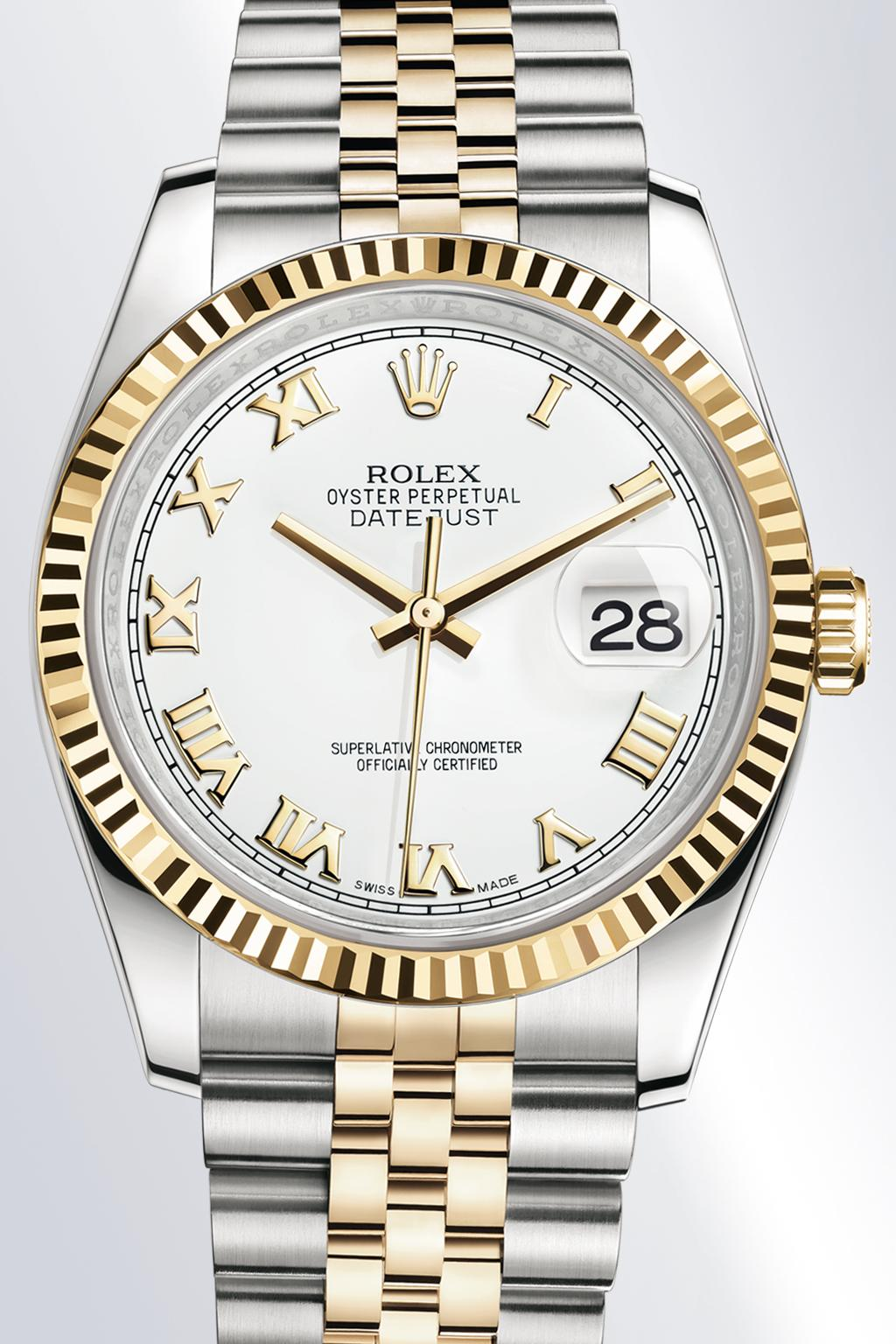 Style of the Datejust 36 THE CLASSIC WATCH OF REFERENCE The Datejust 36 is the modern archetype of the classic watch, thanks to aesthetics and functions that transcend changes in fashion.
