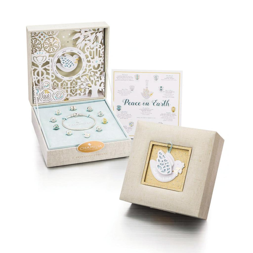 SEASONAL GIFT SETS LIMITED EDITION 2017 PEACE ON EARTH Mint Swarovski Zirconia and Gold Electroplating 4011-0809 $450 US / $500 CAD Beautifully crafted magnetic dove