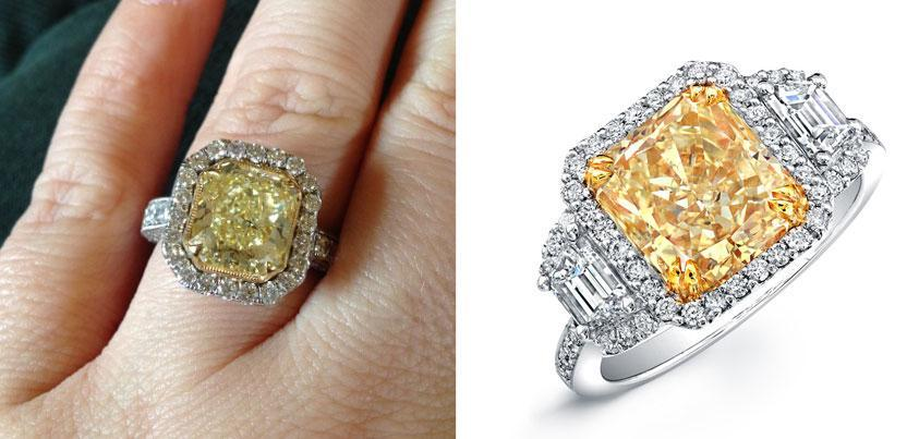 7 Celebrities have been buying colored stone and art-deco engagement rings.