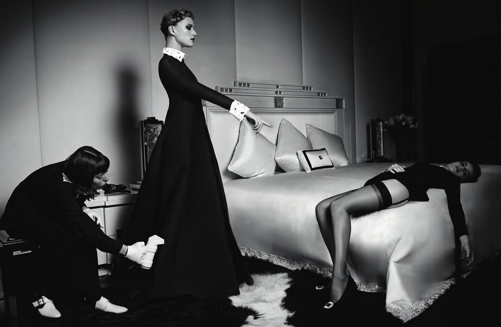 Left: French Maid Scallop Dress, ALICE ROI. Shoes, MANOLO BLAHNIK. White Cotton Gloves. Center: Long Gown in Black Silk Mikado, with Long Sleeves and Shirt Collar, VALENTINO.