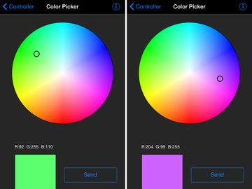 interfaces: The color picker will let you choose from a color wheel and send