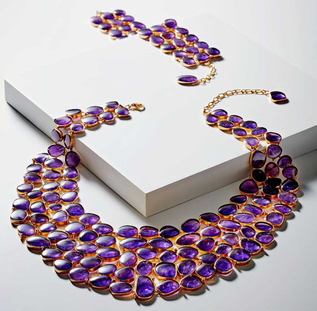 AMETHYST AMOUR NECKLACE UNHEATED AMETHYST CHIPS SET IN EVERLASTING JAIPUR JADAU