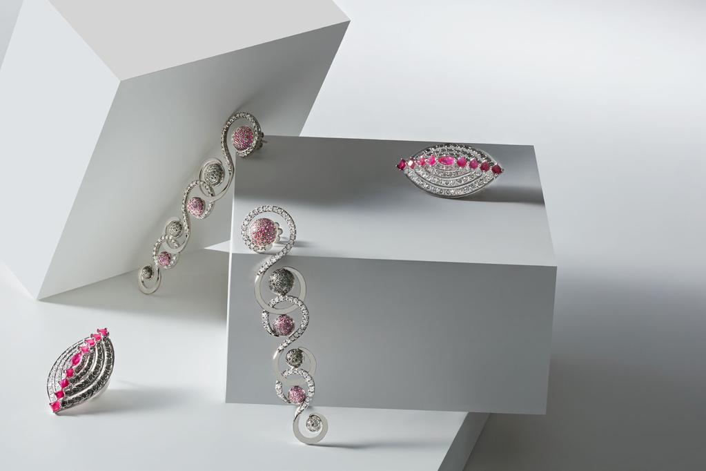WISHFUL IN WHITE EARRINGS TOP WHITE DIAMONDS WITH RUBY AND BLACK DIAMOND PAVÉ DOMES IN 18K WHITE GOLD.