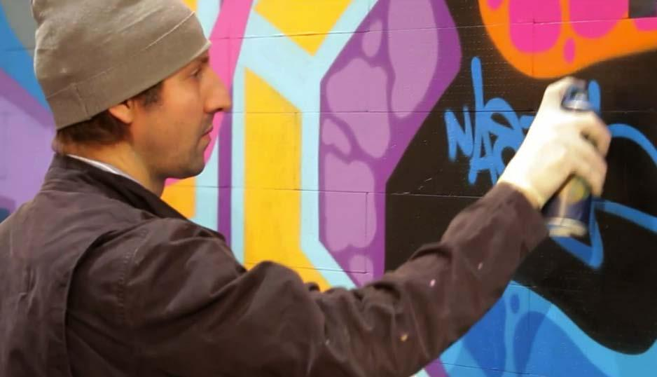 By the end of the 1980s, Nasty had distinguished himself as a prolific subway painter in Paris with his use of bright colors in wildstyle and old school block letters.