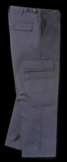Pockets include two back welt pockets and two pleated cargo pockets