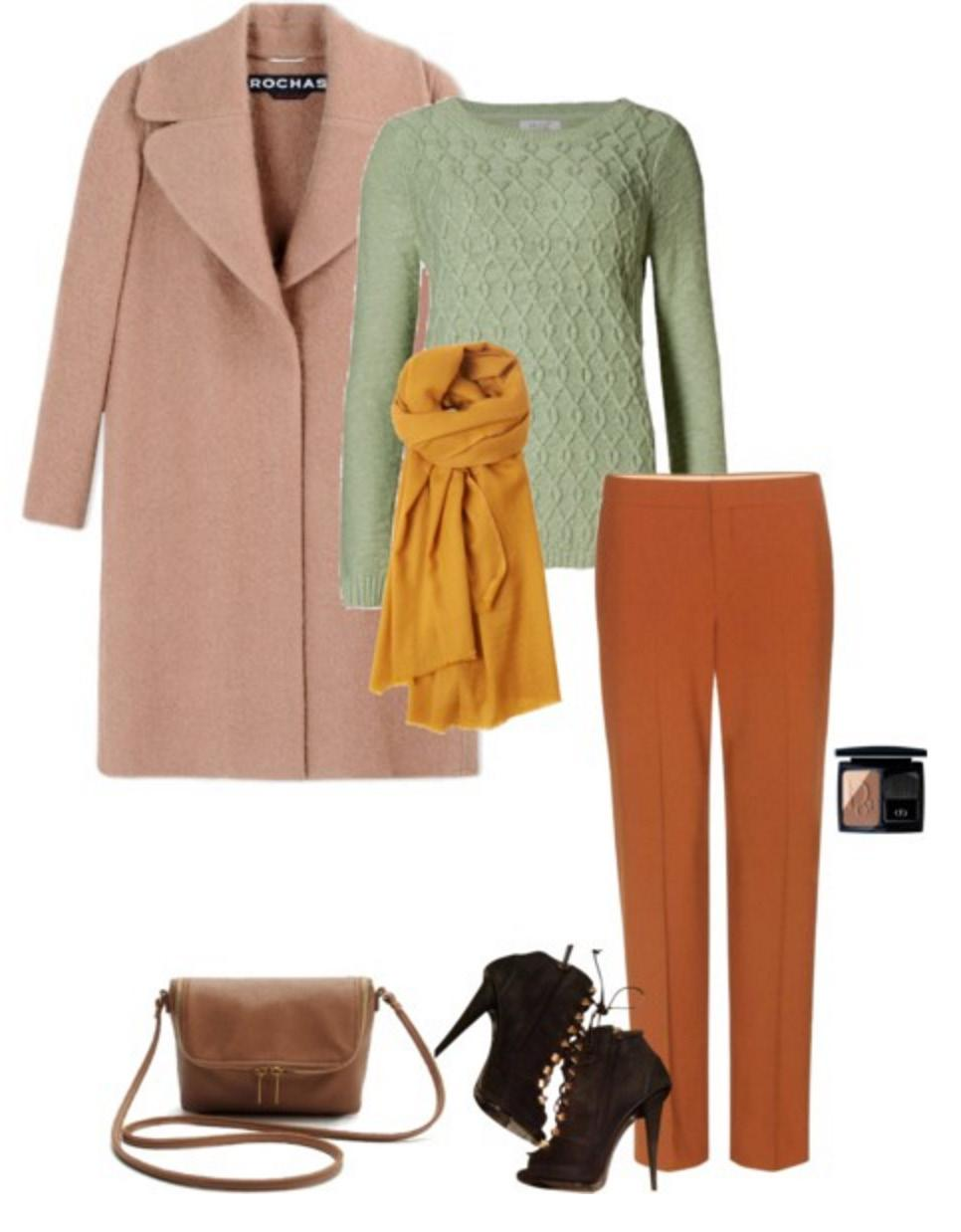 Orange, Green and Mauve-Pink