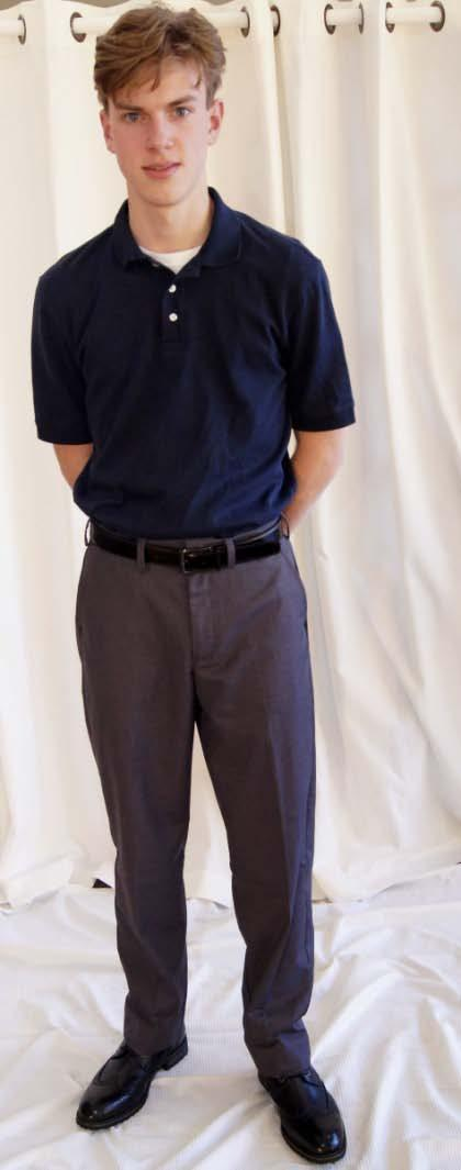 7-12 Young Men Polo Friday Uniform Lands End Performance Interlock Polo Shirt either short or long sleeved Navy Lands End Plain Front Dress Pants Grey Any Plain belt Black Any Dress socks Black Any