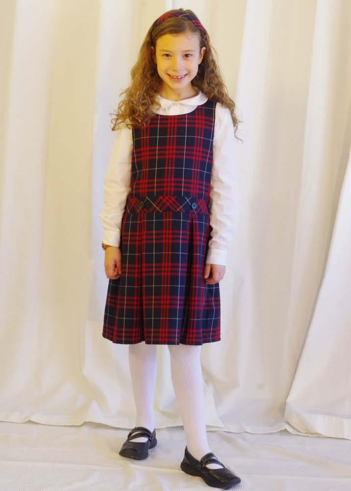 K-3 Girls Dress Uniform French Toast Peter Pan Blouse both long sleeved AND short sleeved Lands End Plaid Jumper Classic Navy Large Plaid Any Tights Any Any Bobby socks (for