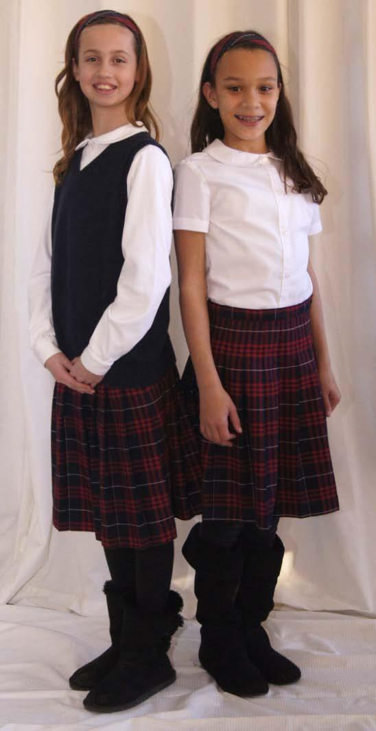 4-6 Girls Everyday Uniform French Toast Peter Pan Blouse either short or long sleeved OR Lands End * Peter Pan Knit Top either short or long sleeved Lands End Plaid Pleated Skirt (at the knee or
