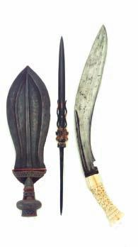 in its original leather-covered wooden scabbard decorated with three raised bands at the top 99cm; 39in blade 800-1000 257 A RARE INDIAN TALWAR FOR A CHILD, 18TH CENTURY with slightly curved blade