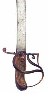 21 22 23 21 AN OFFICER S SWORD, EARLY 19TH CENTURY with earlier curved single-edged Eastern blade of watered steel formed with a rounded back-edge (tip bent), gilt-brass hilt formed of a