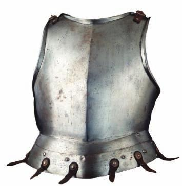 359 359 A RARE INFANTRY BREASTPLATE, CIRCA 1500, PROBABLY SPANISH formed in one piece with a strong medial ridge and bold angular outward turns at the neck and arm-openings, its shoulders in each