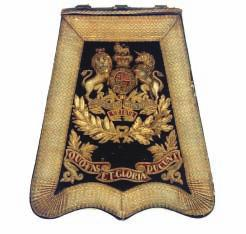 388 A VICTORIAN SABRETACHE OF THE ROYAL ARTILLERY with black leather pouch, blue facing applied with bullion border, the crowned Royal Arms and the Regimental motto (stitching with losses, areas of