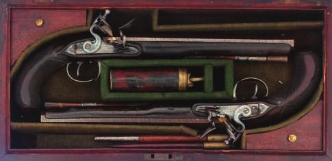 84 84 A PAIR OF FLINTLOCK DUELLING PISTOLS BY LIMBERY, LONDON, CIRCA 1790 each with signed rebrowned octagonal barrel fitted with silver spider fore-sight, inlaid with a gold line at the breech, gold