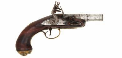 91 92 91 A FLINTLOCK TURN-OFF PISTOL BY TAYLOR, BIRMINGHAM PROOF MARKS, CIRCA 1765 with cannon barrel, engraved breech, signed borderengraved lock, walnut half-stock inlaid with silver wire about the