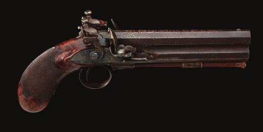 105 105 A RARE FRENCH OVER-AND-UNDER SINGLE TRIGGER FLINTLOCK PISTOL BY LEPAGE ARQ ER DU ROI, NO.