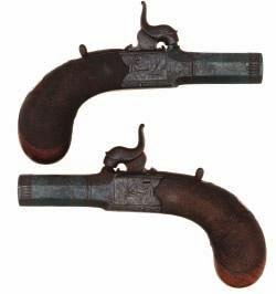 127 A PERCUSSION TURN-OVER MUFF PISTOL BY JOSEPH LANG, 7 HAYMARKET, LONDON, CIRCA 1850 with turn-off barrels, the breech inscribed Patent and London, finely engraved lock signed within an oval, three
