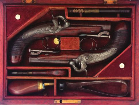 134 134 A PAIR OF IRISH PERCUSSION TRAVELLING PISTOLS BY TRULOCK & SONS, DUBLIN, CIRCA 1830 with signed browned twist sighted barrels, engraved casehardened breeches, engraved case-hardened breech