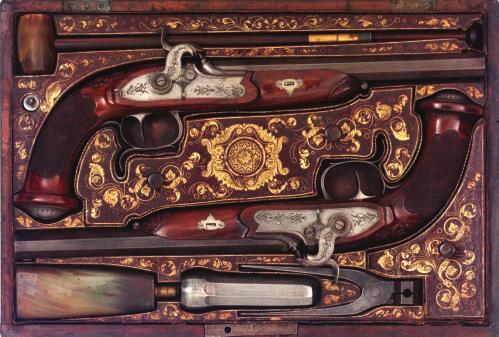 159 159 A FINE PAIR OF BOHEMIAN PERCUSSION DUELLING PISTOLS BY A.V.